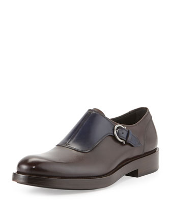Patton Runway Monk-Strap Loafer, Chocolate/Navy