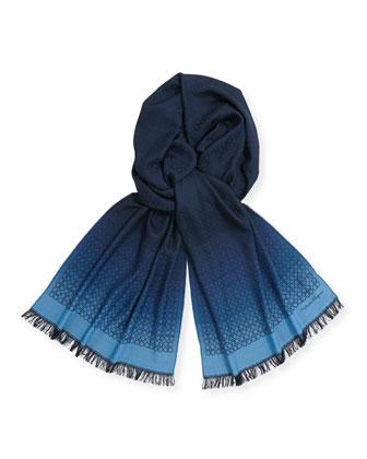 Men's Ombre Gancini Silk Scarf, Blue/Navy