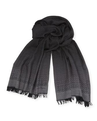 Ombre Gancini Silk Scarf, Black/Gray