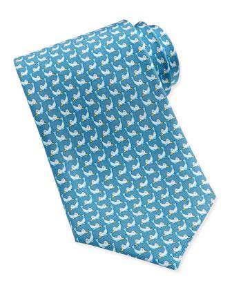 Seal-Print Woven Tie, Aqua