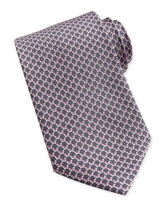 Butterfly-Pattern Woven Tie, Yellow