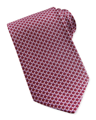 Butterfly-Pattern Woven Tie, Red/Pink