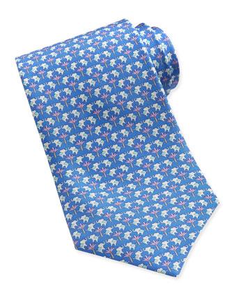Elephant-Pattern Woven Tie, Blue/Pink