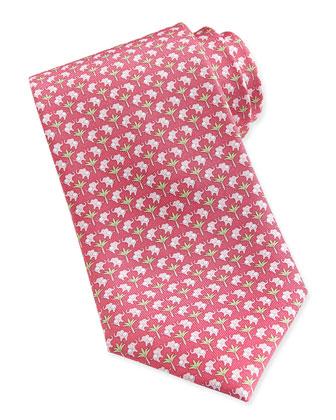 Elephant-Pattern Woven Tie, Pink/Green