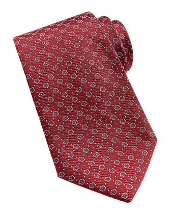 Floral-Pattern Woven Tie, Dark Red