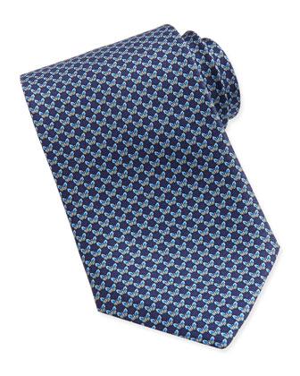 Butterfly-Pattern Woven Tie, Blue
