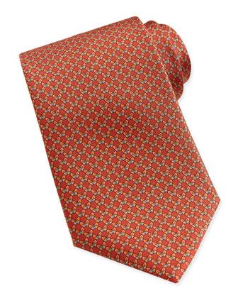 Butterfly-Pattern Woven Tie, Burnt Orange