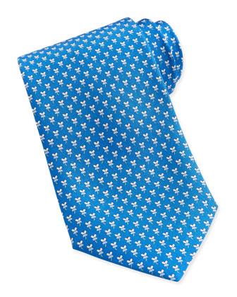 Hibiscus Flower Woven Tie, Blue