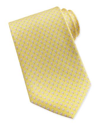 Hibiscus Flower Woven Tie, Yellow/Pink