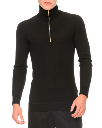 Zipper Turtleneck Sweater