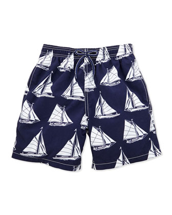 Boys' Sailboat-Print Swim Trunks, Navy, Sizes 8-14
