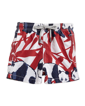 Panda-Print Boys' Swim Trunks, Red/White/Navy, Sizes 8-14