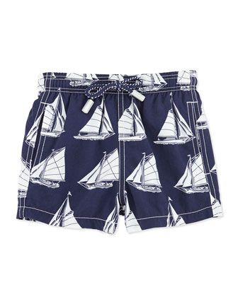 Sailboat-Print Swim Trunks, Boys' 2-6