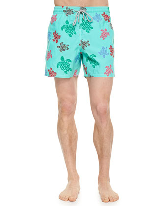Moorea Turtle Motif Swim Trunks, Light Green