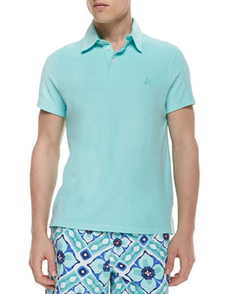 Short-Sleeve Terry Cloth Polo Shirt, Aqua Blue