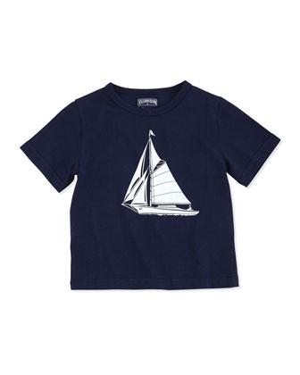 Sailboat-Print Short-Sleeve Tee, Boys' 2-6