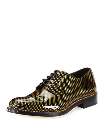 Alaric Men's Polka-Dot Patent Oxford Shoe, Black/Gold