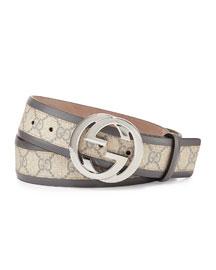 GG Cavnas Belt with Interlocking G Buckle, Gray