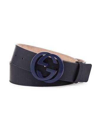 Interlocking G Gommato Belt, Blue
