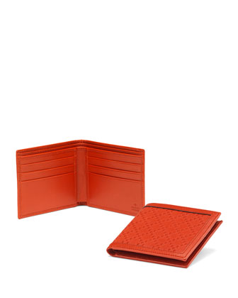 Diamante Leather Bi-Fold Wallet, Orange