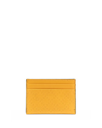 Diamante Leather Card Case, Yellow