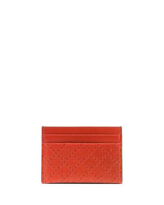Diamante Leather Card Case, Orange