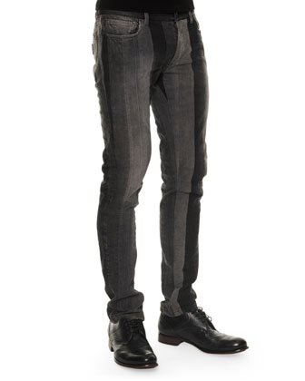 Patch Stripe Straight-Leg Jeans, Gray
