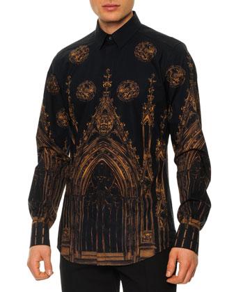 Gothic-Print Button-Down Shirt, Dark Navy
