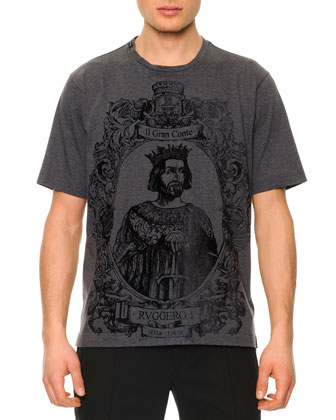 Flecked King-Graphic Tee, Dark Gray