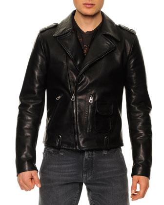 Leather-Blend Asymmetric-Zip Biker Jacket