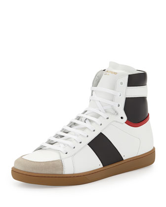 Tricolor Leather High-Top Sneaker