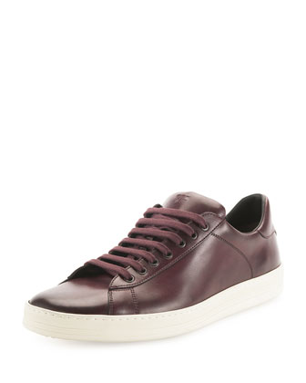 Russel Leather Low-Top Sneaker, Burgundy