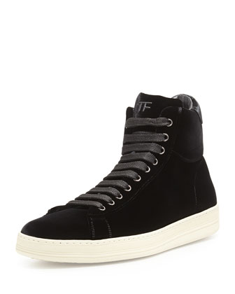 Russel Velvet High-Top Sneaker, Black
