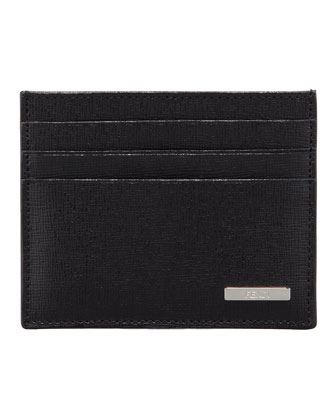 Men's Crayon Saffiano Credit Card Case, Black