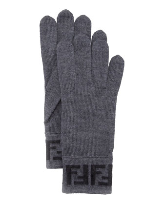 Men's Zucca Knit Gloves, Gray/Black