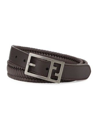 Reversible Braided Leather FF Men's Belt, Brown
