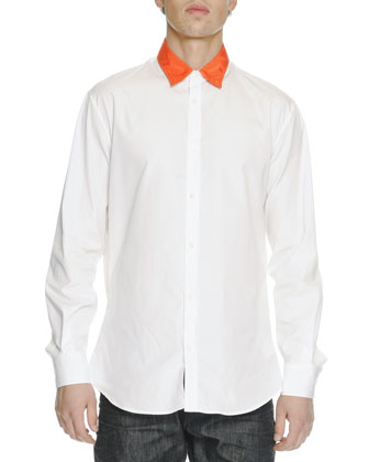 Contrast-Collar Long-Sleeve Shirt