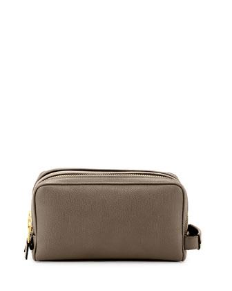 Double-Zip Toiletry Bag, Gray