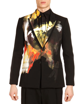 Abstract Painted Jacket, Black Multi