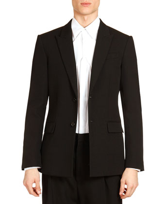 Two-Button Evening Jacket with Satin Trim, Black/Brown