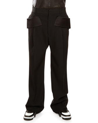Wide-Leg Wool Trousers with Satin Trim, Black