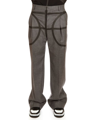 Wide-Leg Trousers with Basketball Taping