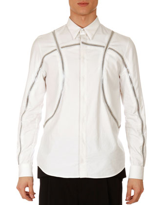 Basketball-Zipper Shirt, White