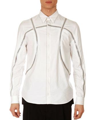 Basketball-Zipper Shirt, White