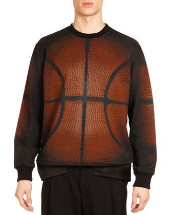 Basketball-Print Sweatshirt, Black/Brown