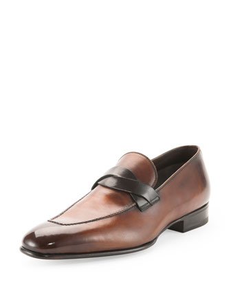 Adney Twist-Front Loafer, Brown