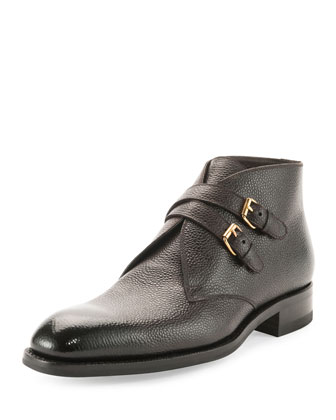Edward Double-Buckle Boot, Dark Brown