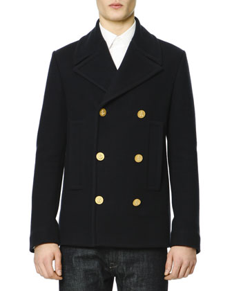 Felt Golden-Button Navy Peacoat, Navy