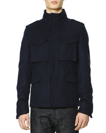 Cotton-Cashmere Field Jacket with Hood