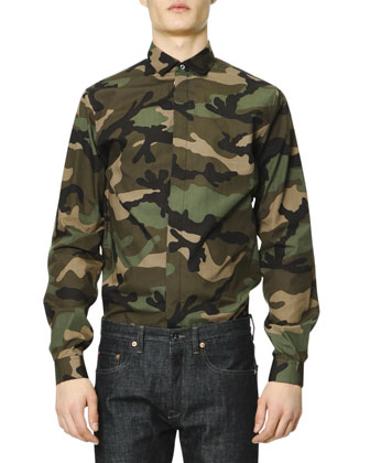 Long-Sleeve Camo-Print Shirt, Green